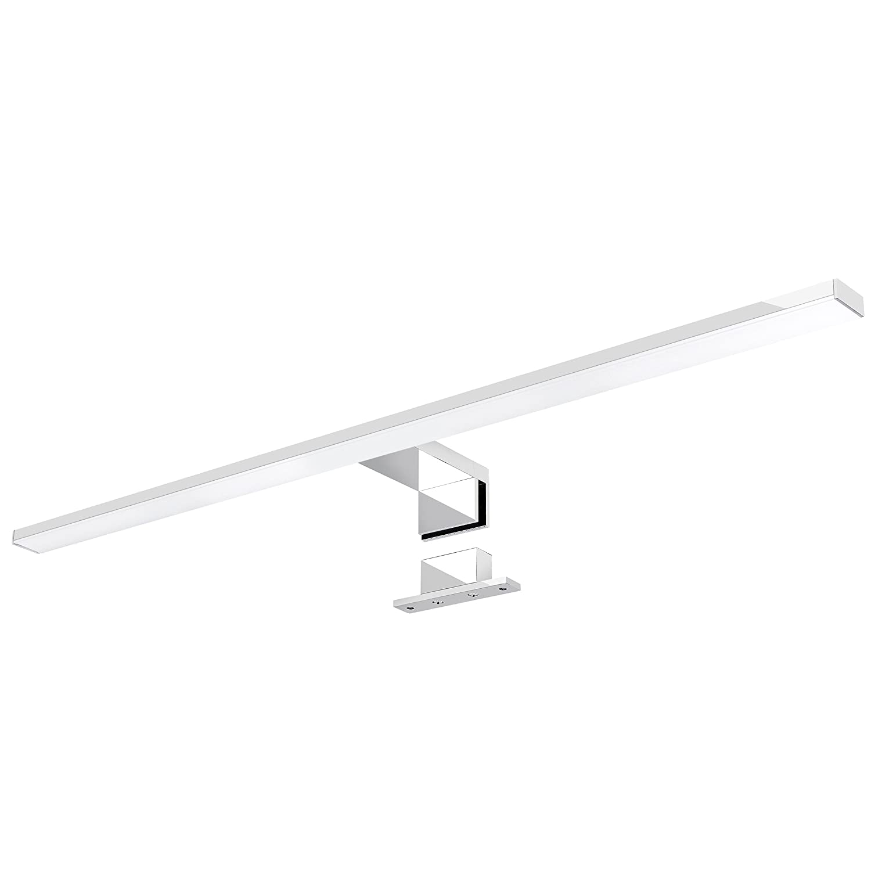 8W IP44 Spiegel und Bad neutralwei/ß 4500K LED Spiegelleuchte LEVA 2-in-1 Aufbauleuchte oder Klemmleuchte 50cm in chrom f/ür M/öbel