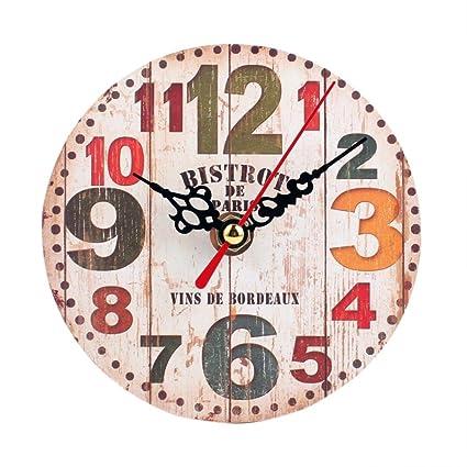 zolimx Estilo Vintage Reloj de Pared Madera Antiguo silencioso (C)