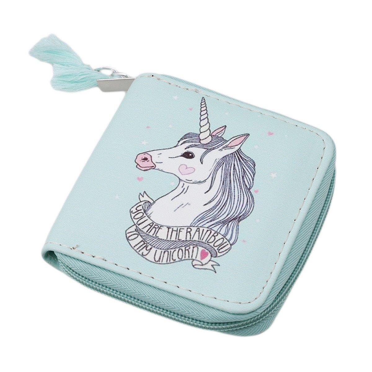 Ch sintética Unicorn moneda Monedero cremallera billetera ...