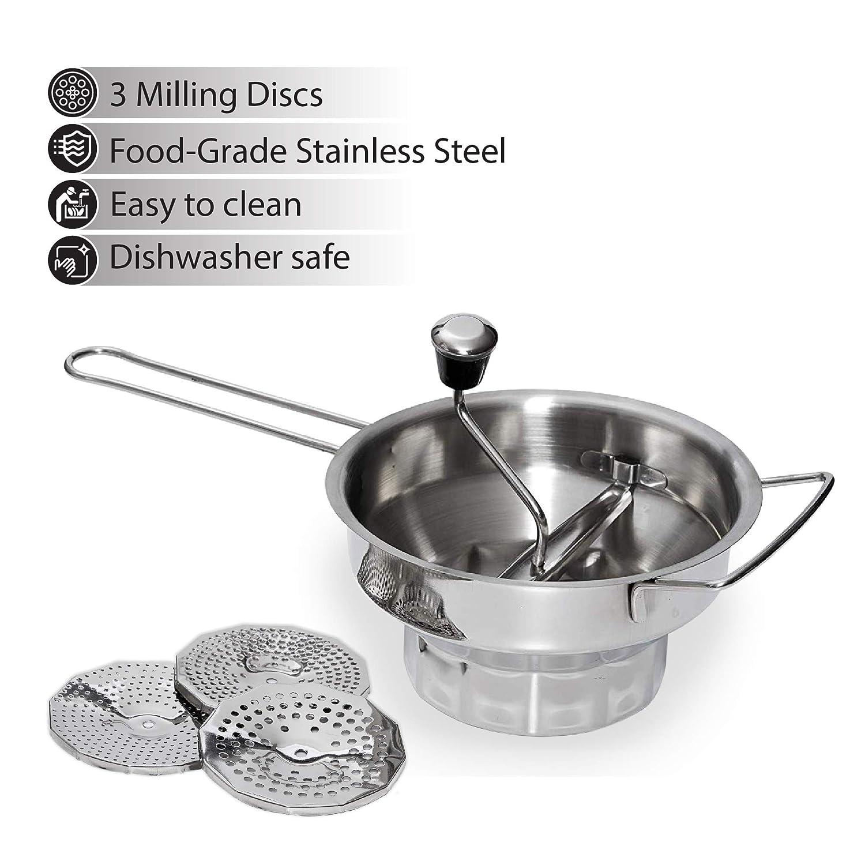 Amazon.com: Molinillo de cocina de acero inoxidable de 2 ...