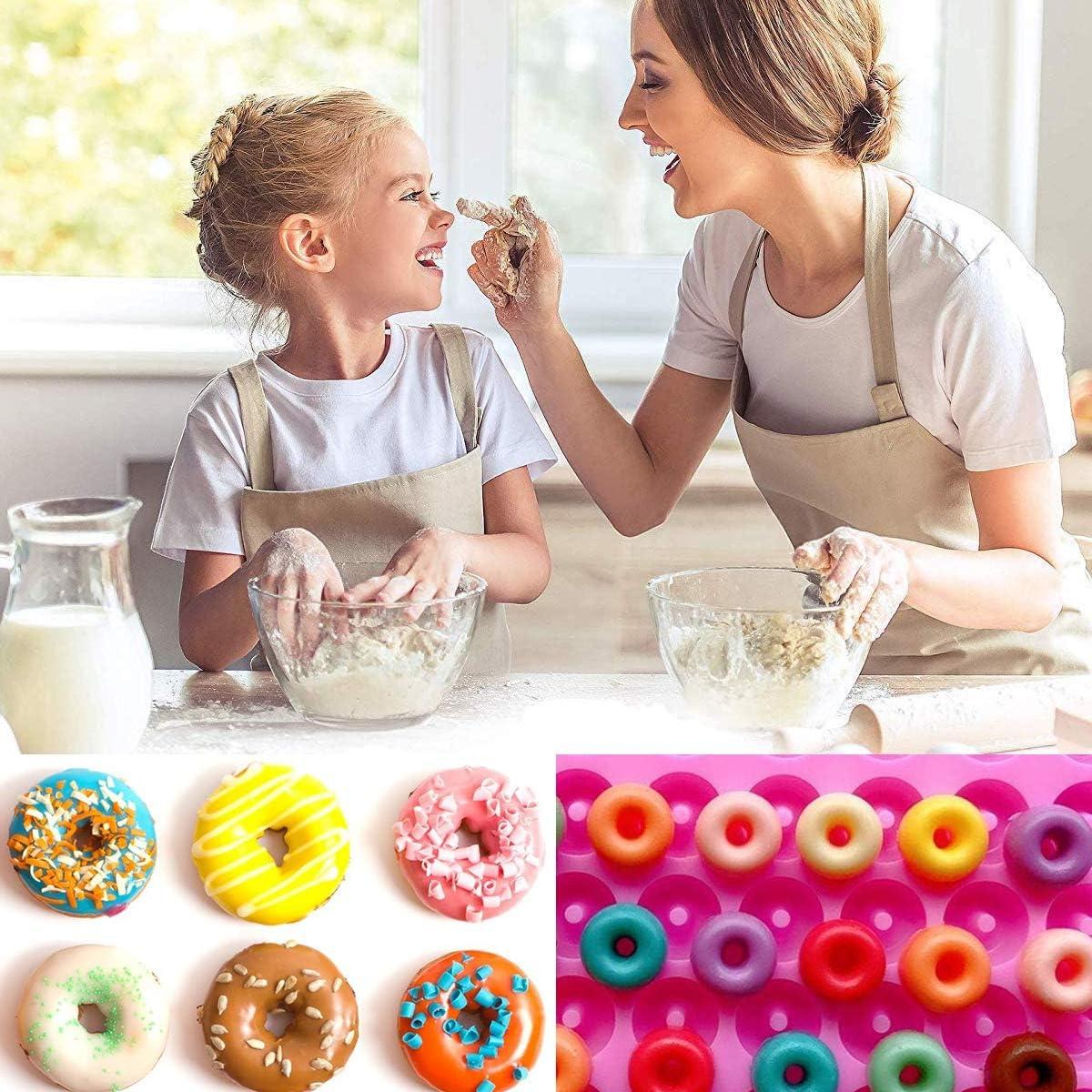 4PCS Mini Donut Silikonform Antihaft Backform DIY Backenf/ür S/ü/ßigkeiten Schokolade Gelee Eisw/ürfel Osuter Silikon Donut Formen