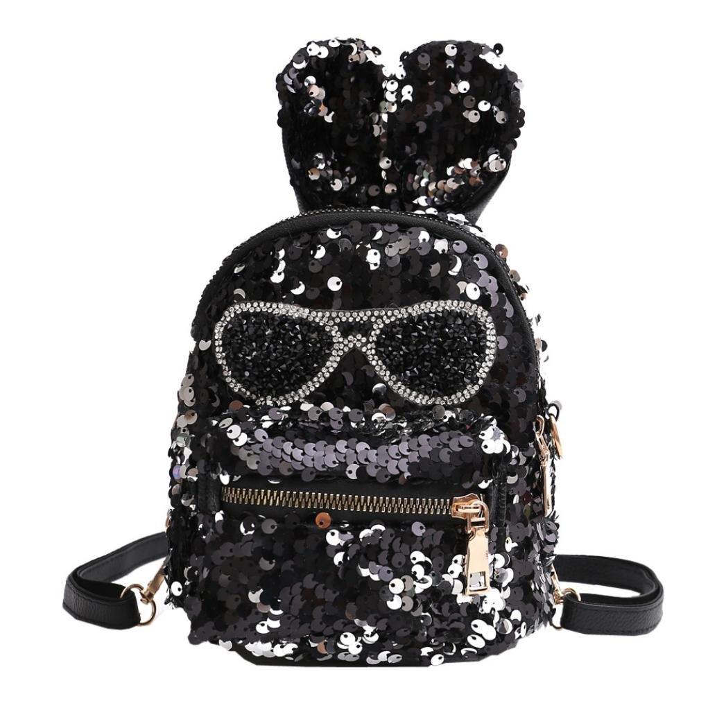 09574c4bb662 Amazon.com   Girls Shining Sequin Faux Leather Backpack Glittery Satchel  Fashion Top Handle School Bag Daypack Purse (Black)   Kids' Backpacks