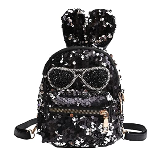 Girls Shining Sequin Faux Leather Backpack Glittery Satchel Fashion Top  Handle School Bag Daypack Purse ( 776d65dbd72fc