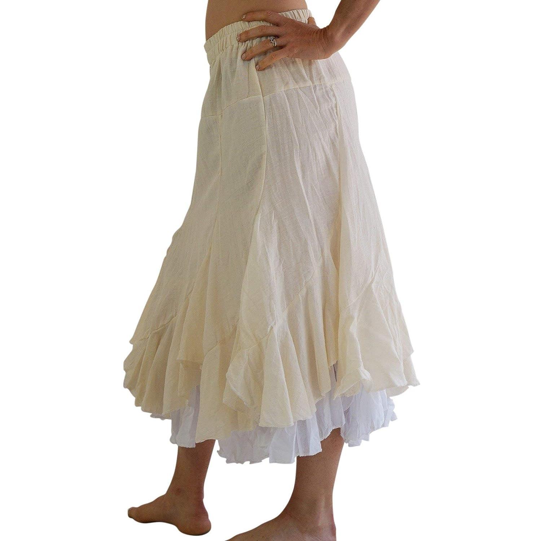 zootzu Two Layer Gypsy Renaissance Skirt Cream//White
