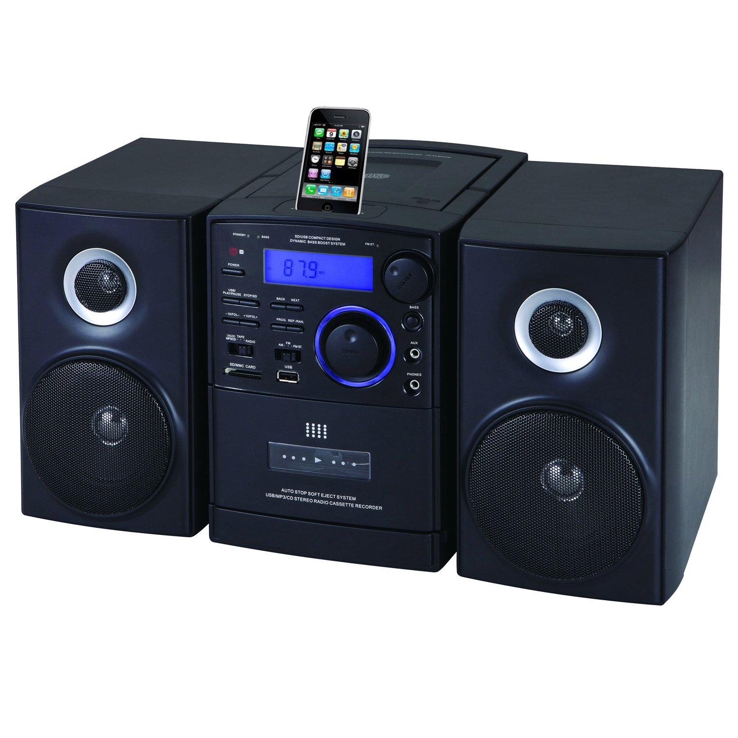 mp3 cd player am fm radio cassette recorder w ipod iphone docking usb sd aux ebay. Black Bedroom Furniture Sets. Home Design Ideas