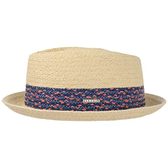 a876fed1d999a7 Stetson Colour Band Pork Pie Raffia Hat Women/Men | Summer Beach Straw  Spring-Summer: Amazon.co.uk: Clothing