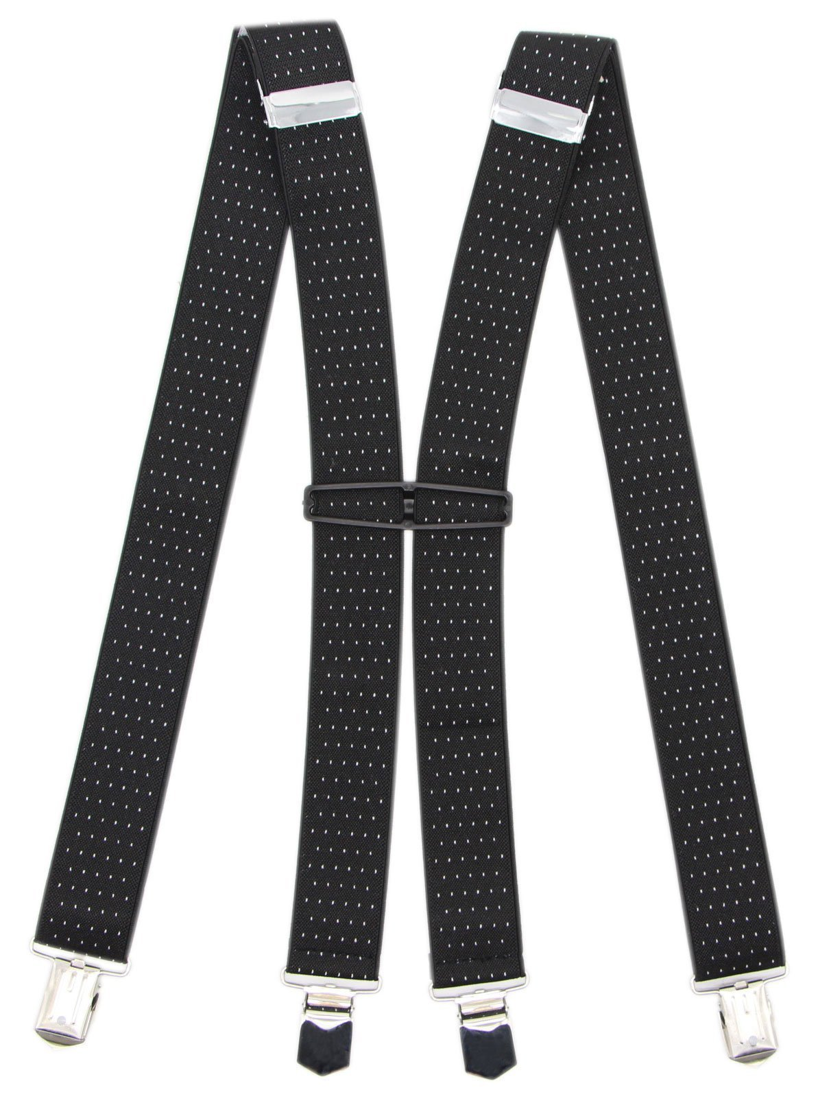 Suspenders For Men With 4 Clips: 11 Colors For Formal And Casual Occasions (Black Dot)