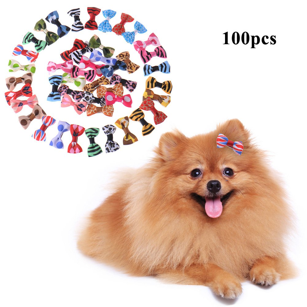 100pcs Pack Yunt 100pcs Pack New Dog Hair Clips Small Bowknot Pet Grooming Products Mix colors Varies Patterns Pet Hair Bows Dog Accessories
