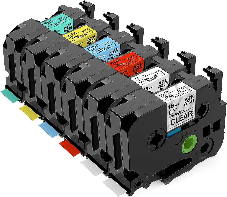 18mmx 8m Laminato per Brother P-Touch PT-D400 D450 D600 D200 D200G D210 1090 1190 1230PC Nastro per Etichette Anycolor Compatibile in Sostituzione di Brother P-Touch TZe-241 3X Nero su Bianco TZ 241