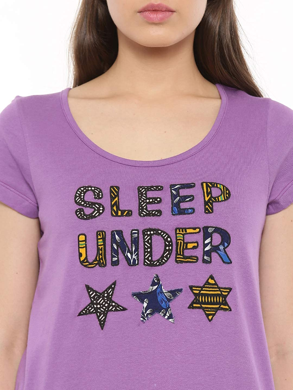 Star Patchwork T-Shirt Cotton Loungewear Casual Women Ladies Purple A234C