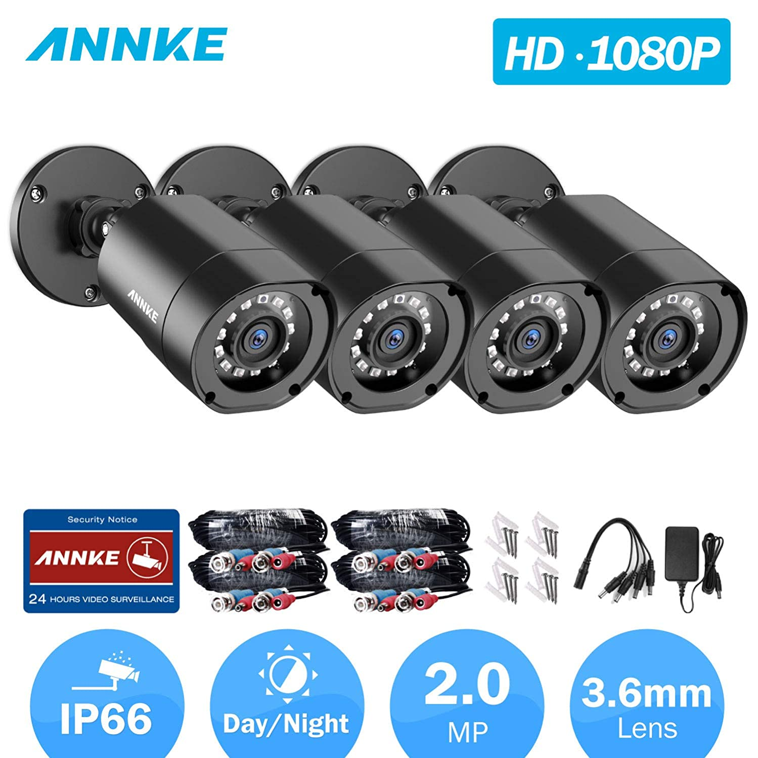 ANNKE 4-Packed 1080P HD-TVI Security Camera 2.0MP Hi-Resolution Indoor Outdoor Bullet Camera with 66ft Super Night Vision, IP66 Weatherproof Housing, Smart IR-Cut