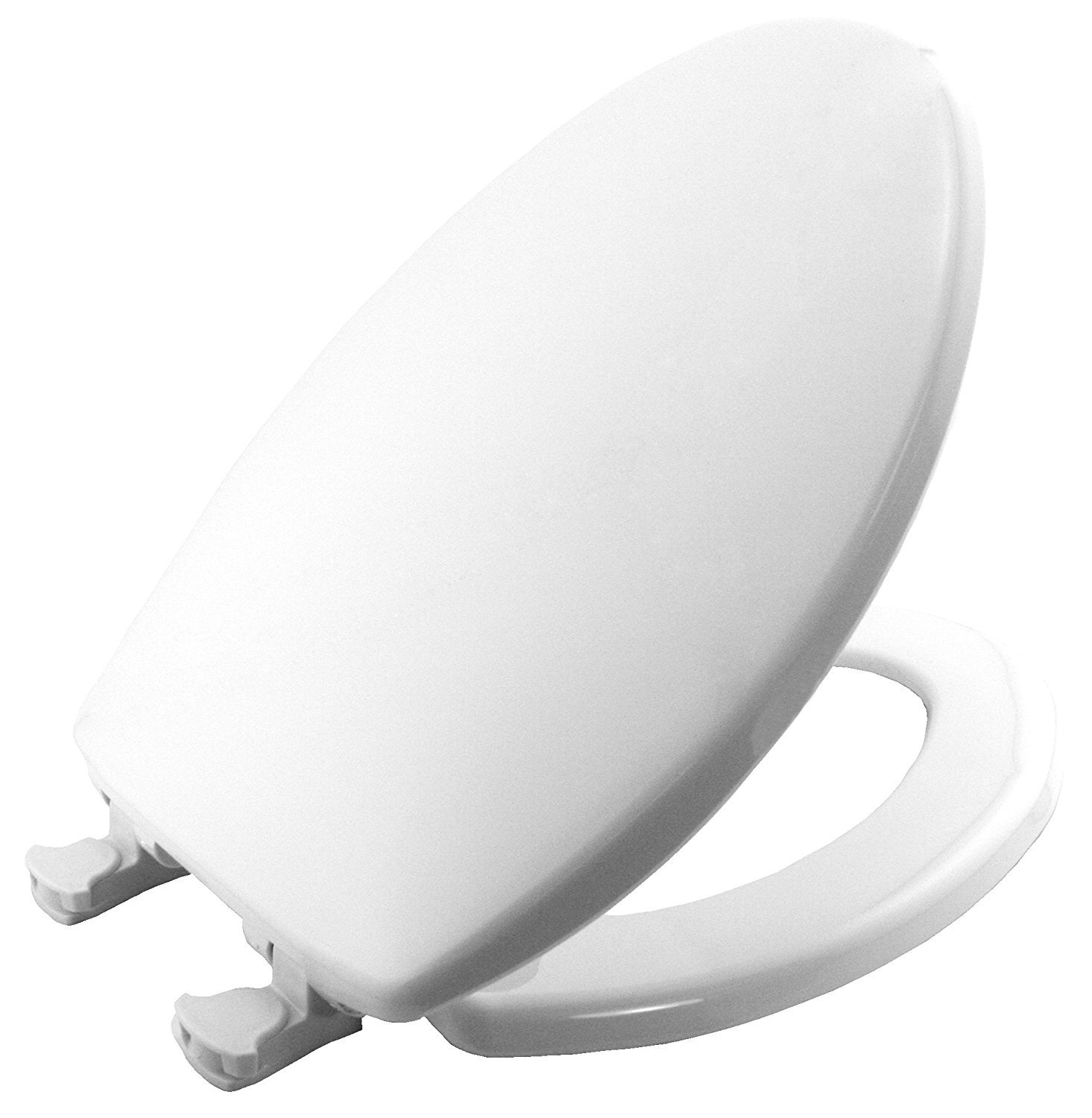 Mayfair Solid Plastic Toilet Seat featuring Easy-Clean & Change Hinges and STA-TITE Seat Fastening System, Elongated, White, 180EC 000