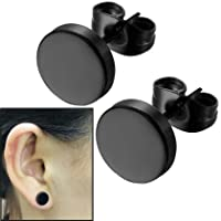 8mm Black Round Stud Earrings Set Stainless Steel Ear Studs for Men Women Tunnel Plug Post Pierced Tunnel, 2pcs/1 Pair