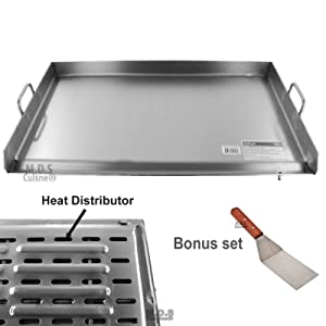 "Griddle Stainless Steel Flat Top With reinforced brackets under griddle-Heat Distributor Heavy Duty Comal Plancha 36"" x22"""