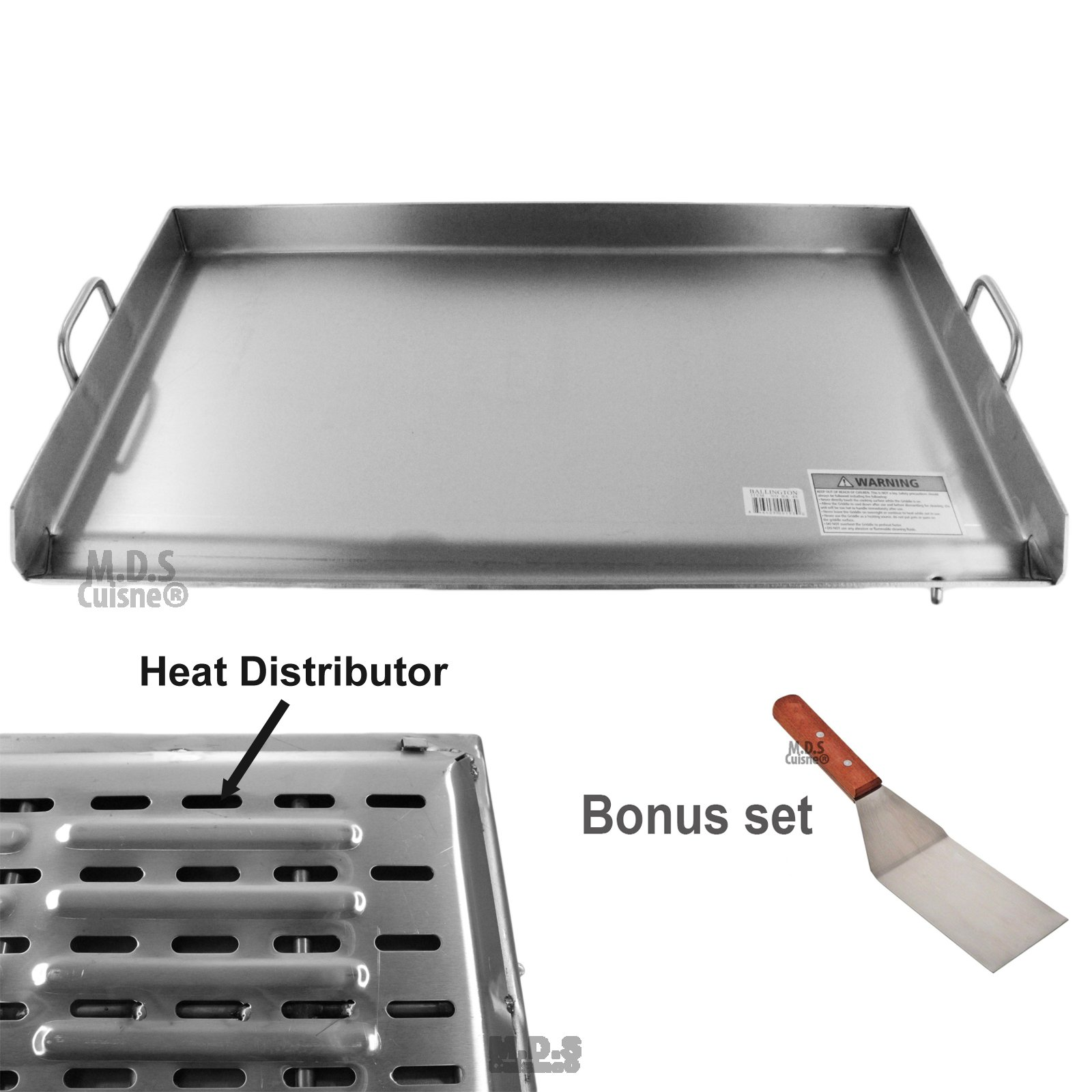 Griddle Stainless Steel Flat Top With reinforced brackets under griddle-Heat Distributor Heavy Duty Comal Plancha 36'' x22''
