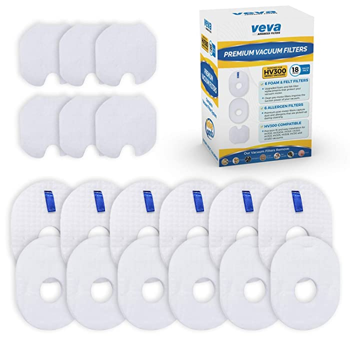 VEVA Premium Vacuum Filter Set with 6 Allergen, 6 Foam, 6 Felt Filters for Shark Rocket Vacuums Model HV292, 300, 301, 302, 303, 305, 310; UV450 & Parts XFFV300