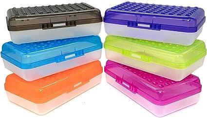 Regal - Estuche multiuso para lápices de colores surtidos para organizar y llevar lápices, estuche de plástico para lápices de la escuela, estuche de plástico (6 unidades), color 24: Amazon.es: Oficina y papelería