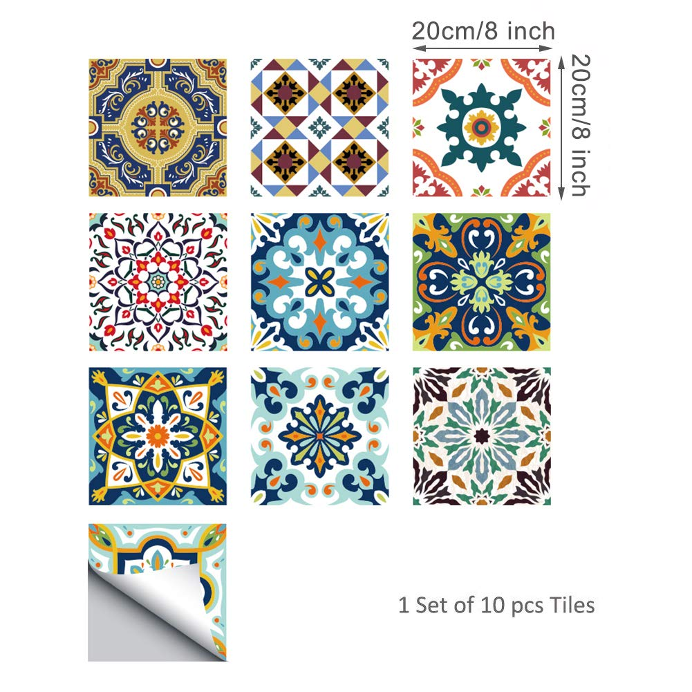 Pack of 10 HyFanStr Tile Stickers 6x6 Victorian Moroccan Tile Transfers for Kitchen Bathroom Tile Decals