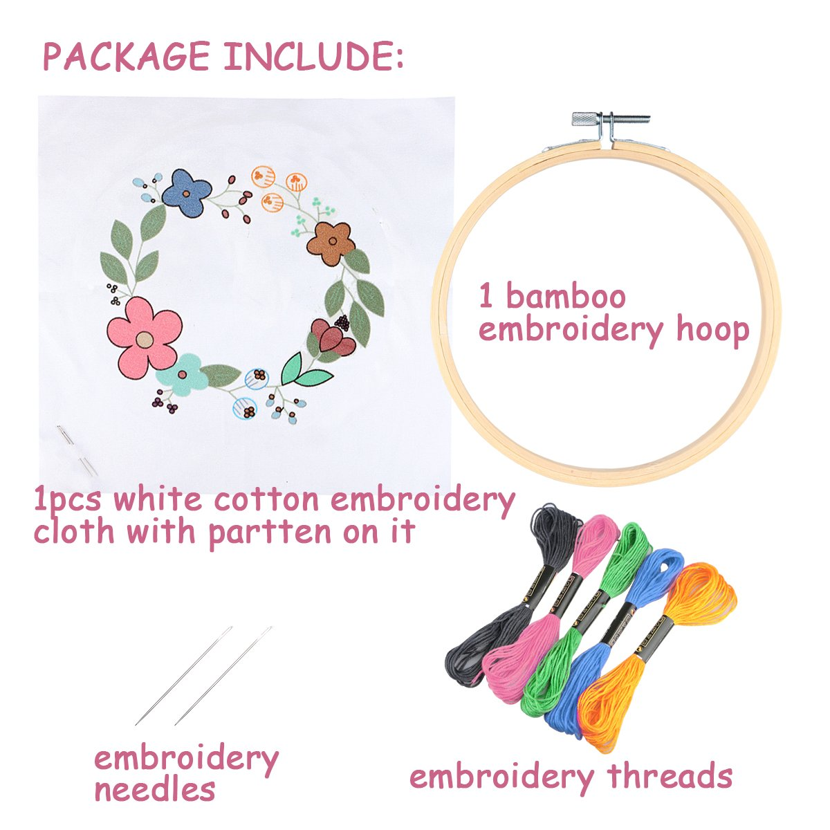 Cross Stitch Kit Including Embroidery Cloth with Color Pattern Color Threads Bamboo Embroidery Hoop and Tools Kit Dark Cactus Unime Full Range of Embroidery Starter Kit with Partten