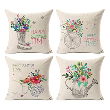 Kithomer Set of 4 Farmhouse Outdoor Decorations Throw Pillow Cover Happy Summer Time with Floral Bicycle Cotton Linen Pillow Case Home Decor Cushion Cover for Sofa Couch 18 x 18 Inch