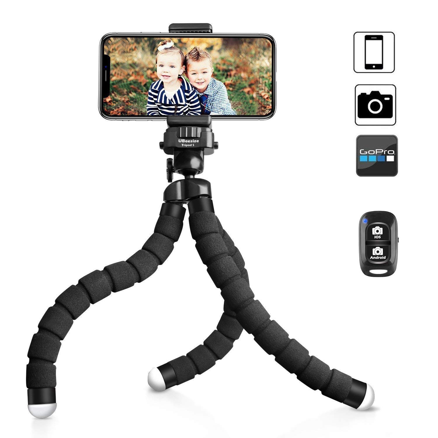 UBeesize Tripod S, Premium Phone Tripod, Flexible Tripod with Wireless Remote Shutter, Compatible with iPhone/Android Samsung, Mini Tripod Stand Holder for Camera GoPro/Mobile Cell Phone (Upgraded)