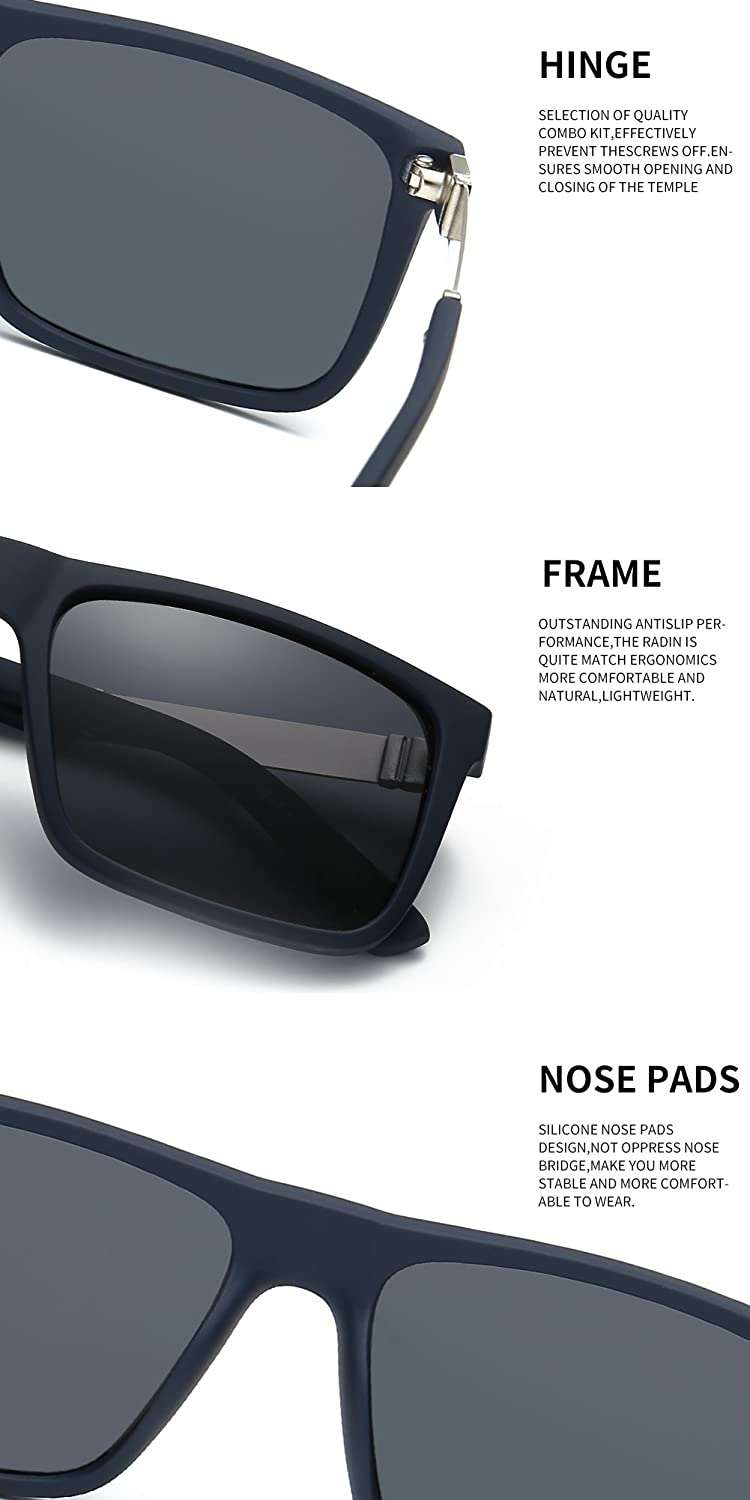 57be5728e68 Amazon.com  DONNA Trendy Oversized Square Aviator Polarized Sunglasses  Style with Big Unbreakable Frame and Anti-glare Lens D54-BSC15  Clothing
