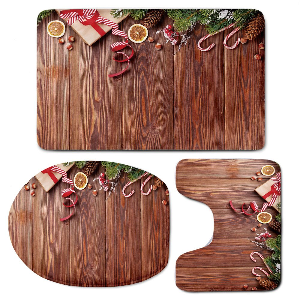 3 Piece Bath Mat Rug Set,Christmas,Bathroom Non-Slip Floor Mat,Rustic-Wooden-Planks-with-Seasonal-Items-New-Year-Celebration-in-Country-Decorative,Pedestal Rug + Lid Toilet Cover + Bath Mat,Redwood-Gr