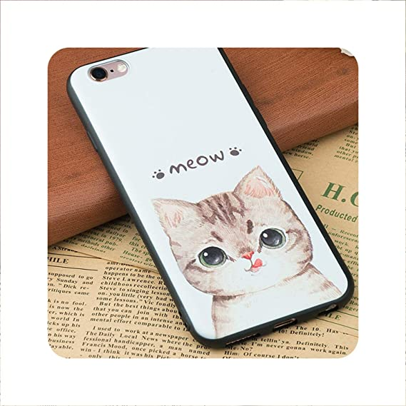 Amazon Com Cat Dog Pattern Tpu Silicon Coque Funda Coque Shell Case Phone Cute Cover Case For Iphone 7 X 5s 5 Se 6 S 6s 8 Plus 01 For Iphone 6 6s