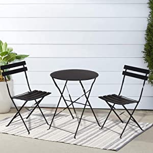 INOVIX Black Grand Premium Steel Bistro, Folding Outdoor Furniture, 3 Piece Set of Foldable Patio Table and Chairs