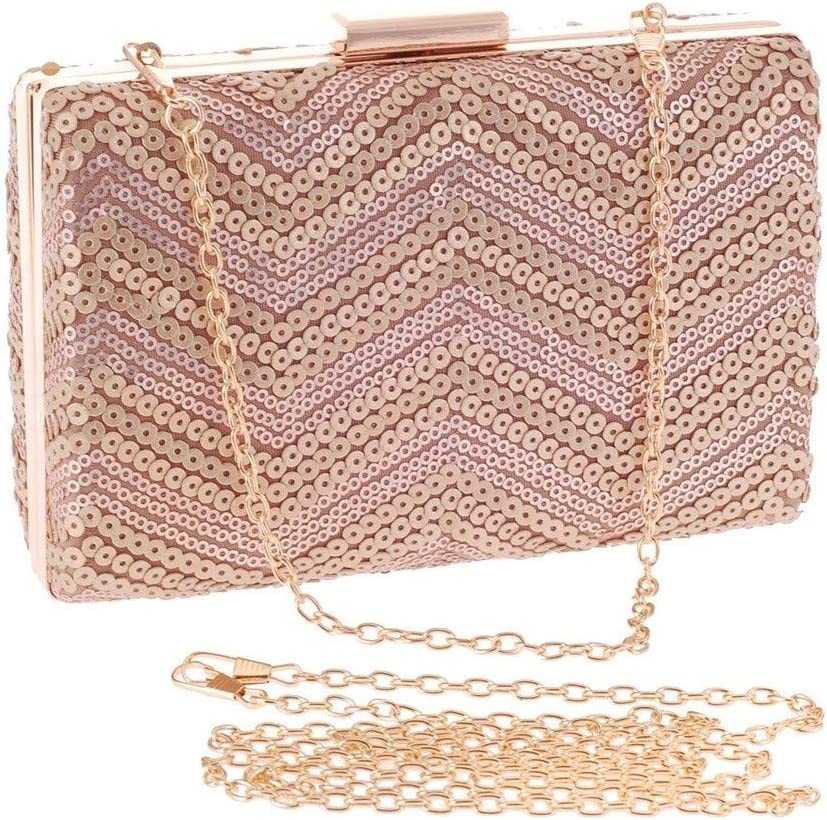BAOLH Elegant Ladies Sparkly Sequin Evening Party Bag Cross-Body Bag Business Handbag Women's Clutch Purse Bag for Parties, Wedding, Dinner Fashion (Color : Champagne) Champagne