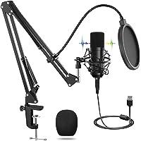 USB Micrófono, Micrófono Profesional Con Soporte Ajustable T20, Juegos de Micrófonos de Condensador Para Computadora…