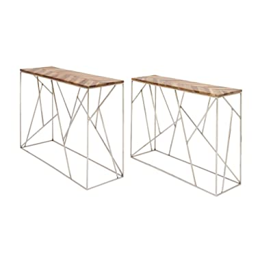 Deco 79 72934 40 /48  Stainless Steel and Wood Console (Set of 2), Dark Brown/Silver