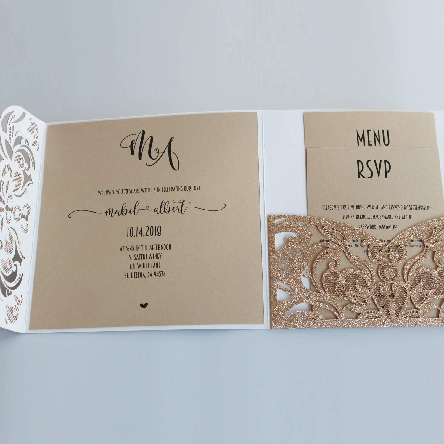 Amazon.com: 50Pcs Picky Bride Gold Glitter Wedding Invitations with RSVP  Cards Luxury Wedding Cards - Set of 50pcs: Health & Personal Care