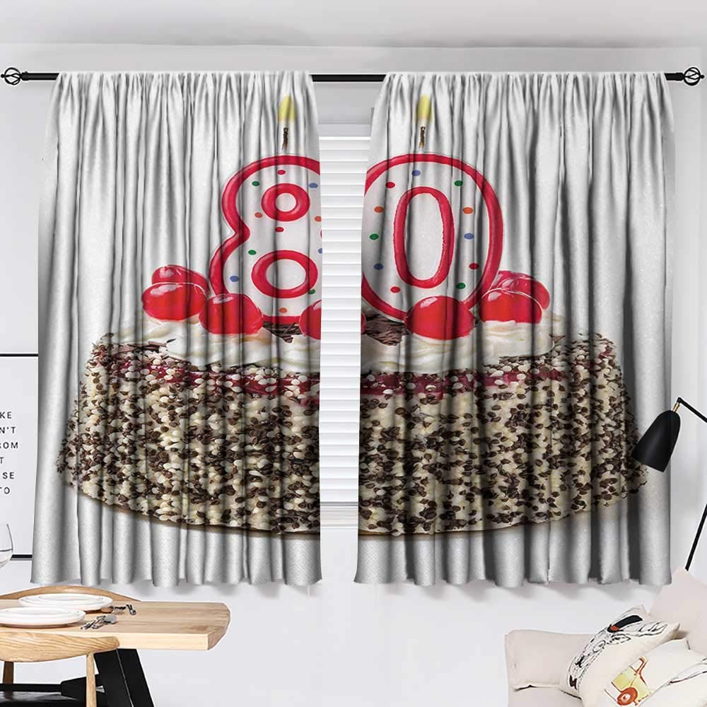 Jinguizi 80th Birthday Curtain Panels Birthday Party Cake with Sweet Tasty Cherries Sprinkles and Candles Image Style Darkening Curtains Multicolor W55 x L39 by Jinguizi (Image #2)