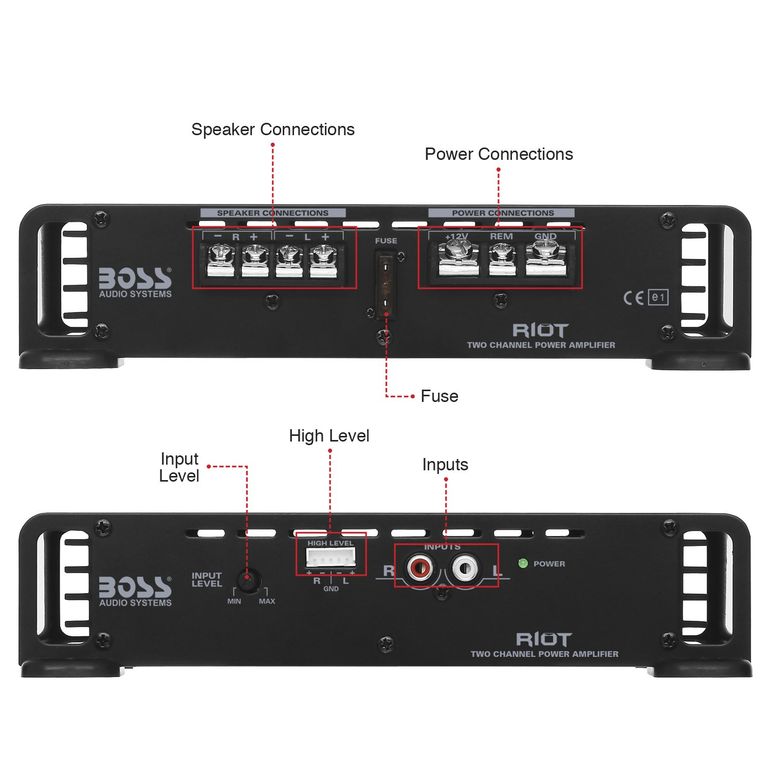 Boss Audio R1002 Car Amplifier 2 Channel 200 Watts Kit2 8 Gauge Complete Wiring Kit Pair Vminnovations Max Power 4 Ohm Stable Class A B Full Range Electronics