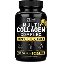 Multi Collagen Peptides Pills (Types Ⅰ,Ⅱ,Ⅲ,Ⅴ,Ⅹ) Grass Fed Collagen Pills (180 Capsules) - Hydrolysate Collagen Protein Blend for Hair, Skin, Nails, and Joint Support - Collagen Pills for Women