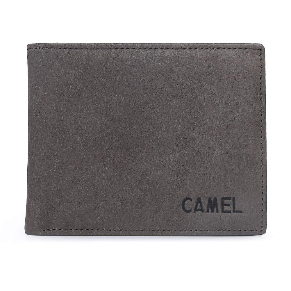 CAMEL Mens Genuine Leather Wallets, Bifold RFID Blocking Money Clips Card Cases