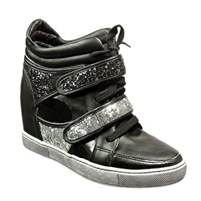 bc98de66ef Angkorly - Damen Schuhe Sneaker Keilabsatz - Strass - Spitze Keilabsatz 6  cm - Schwarz 633