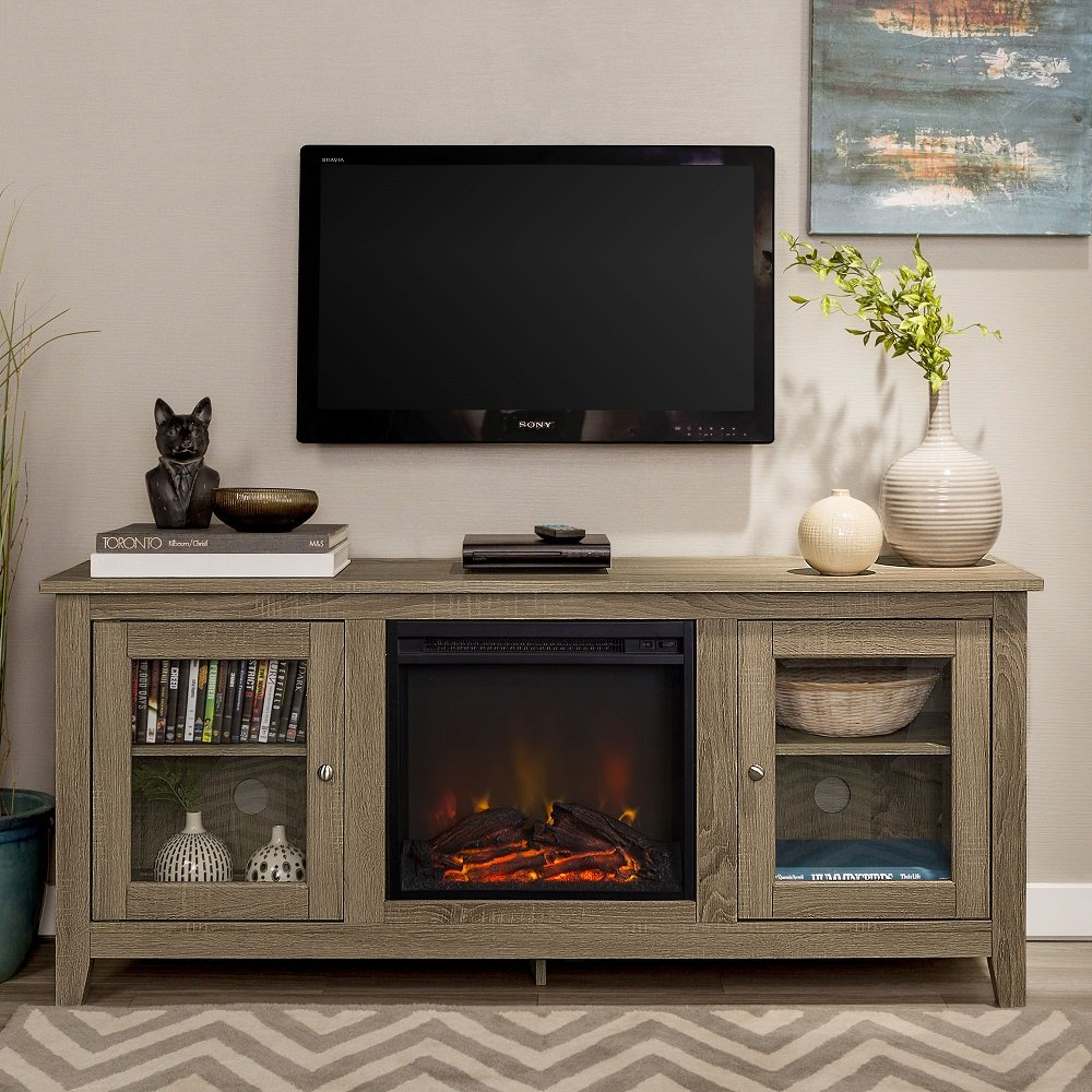 Fireplace Tv Stand 58 Inch Wide with Glass Doors-Driftwood Finish