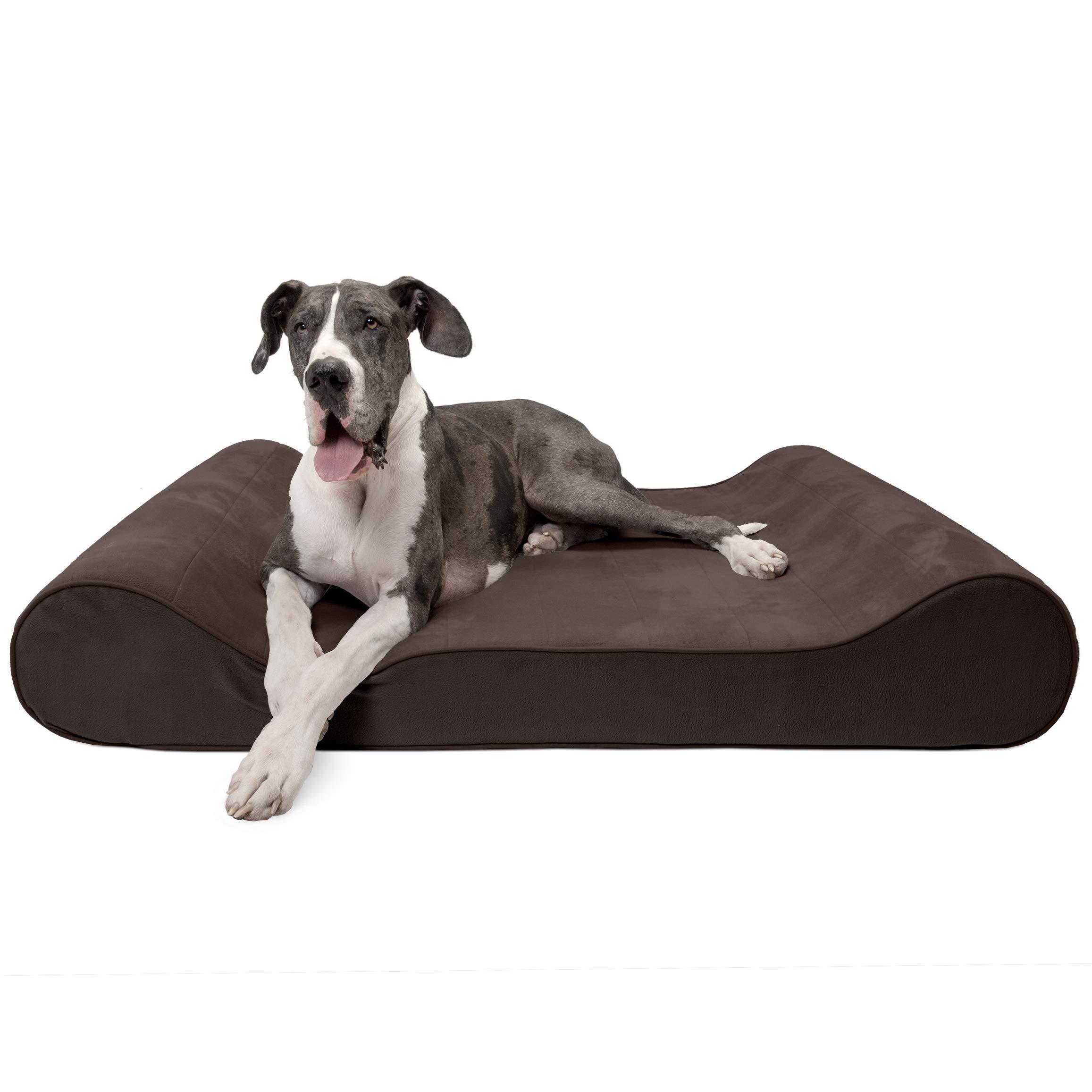 Furhaven Pet Dog Bed | Memory Foam Micro Velvet Ergonomic Luxe Lounger Cradle Mattress Contour Pet Bed for Dogs & Cats, Espresso, Giant