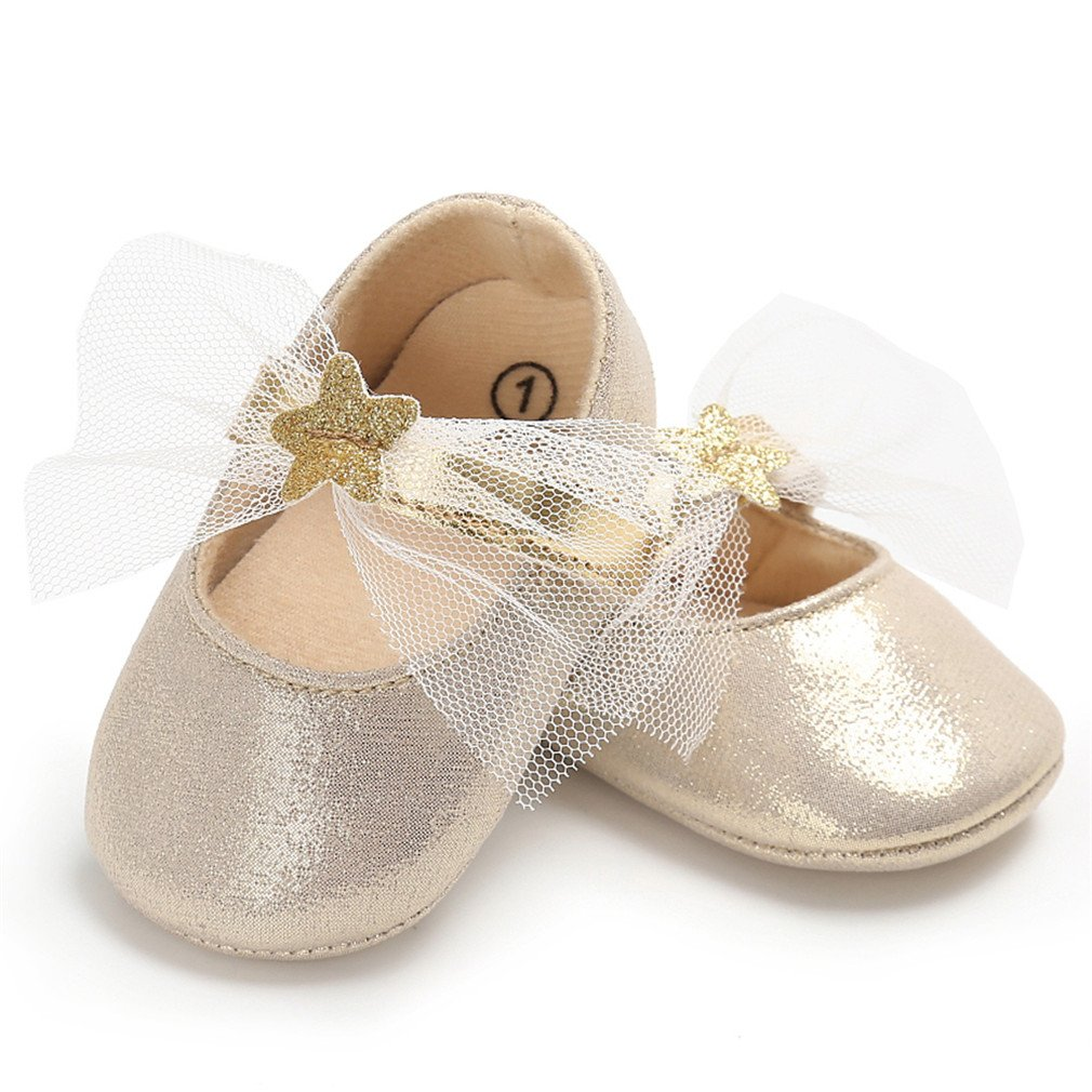 Toddler Girl Crib Shoes Cute Bow Bebes Casual Loafers Princess Shoe Footwear Gold C 0-6 Months