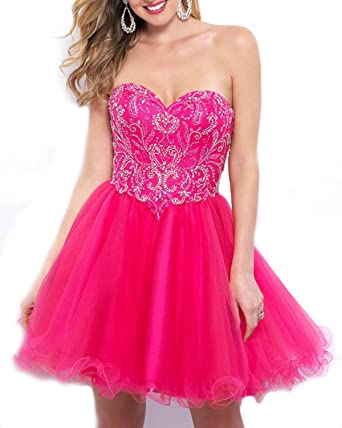 WeddingDazzle Strapless Beaded Corset Short Prom Dresses 2018 Prom Party Gowns at Amazon Womens Clothing store: