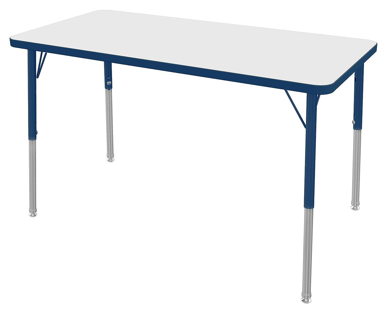 16-24 Navy Leg Toddler Size Navy-Edge Gray Nebula-Top Marco Group MGA2226-F3-ANAV 24 x 48 Rectangular Adjustable Height Classroom Activity Tables