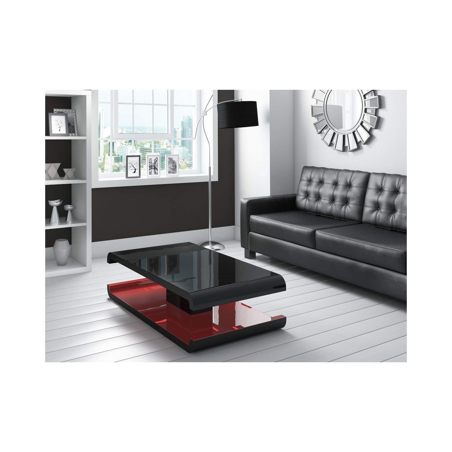 Tiffany Black High Gloss Coffee Table with LED Lighting Amazon