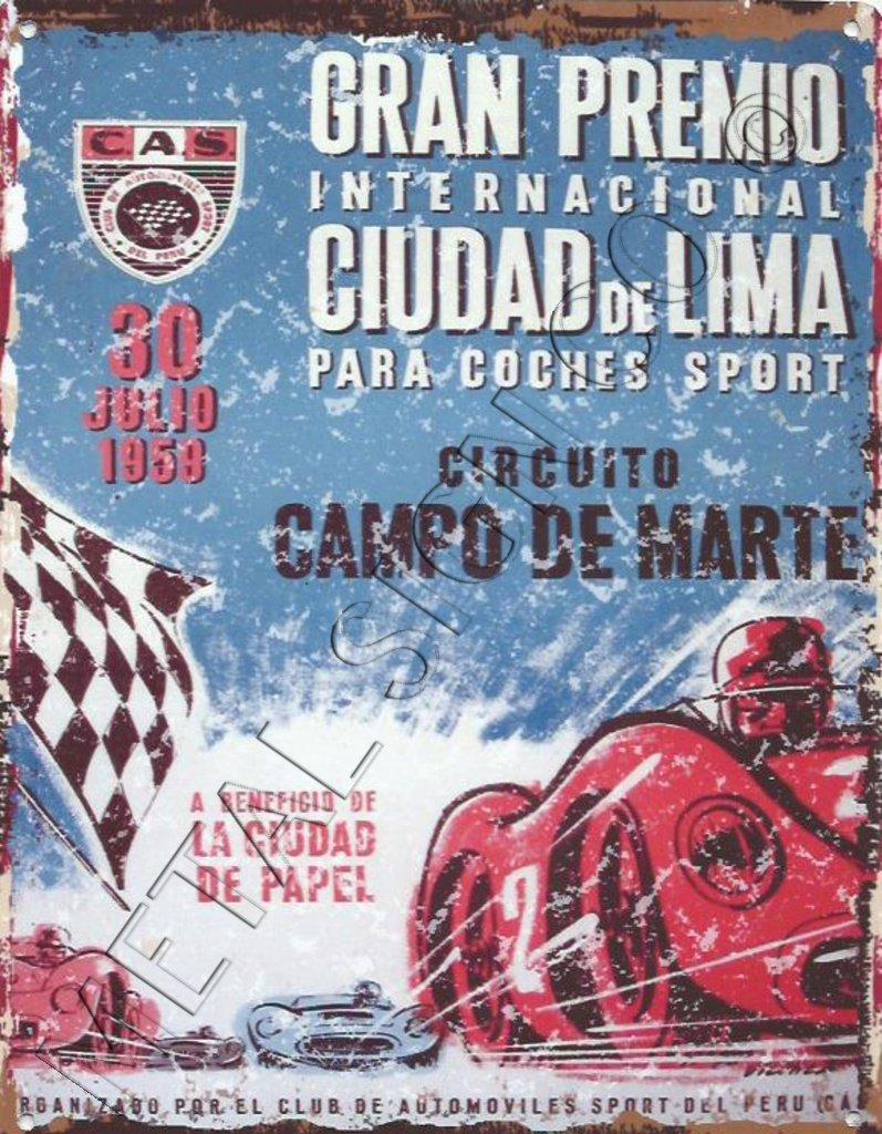 1959 Lima Perú Motor de carreras anuncio Metal Sign Retro ...