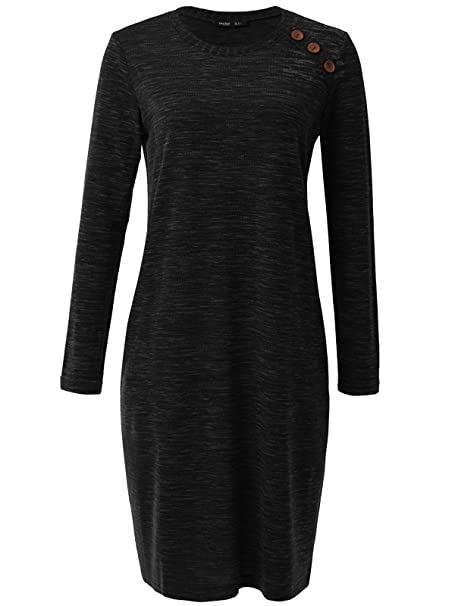 14a7554b2b4755 JayJay Women Vintage Round Button Neck Long Sleeve H-Line Midi Dress With  Two Pocket