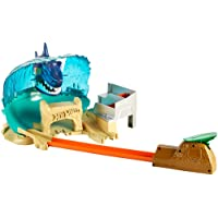 Hot Wheels FNB21 City Hai-Strand-Attacke, Hai Spielset für Spielzeug Autos, inkl. 1 Fahrzeug und Starter, ab 5 Jahren