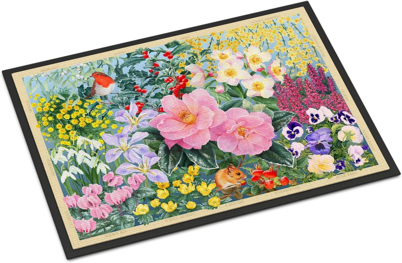 Caroline s Treasures SASE0956JMAT Winter Floral by Anne Searle Indoor or Outdoor Mat 24×36, 24H X 36W, Multicolor