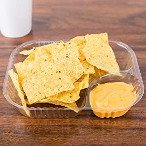 200 Plastic Nacho Trays Disposable | Large 6.5 X 5 – 20 oz Nacho Containers | Bulk Carnival Food Chips Container | 2 Compartment Concession Stand Trays | Clear Snack Bowls Plates Holder Party Supplies