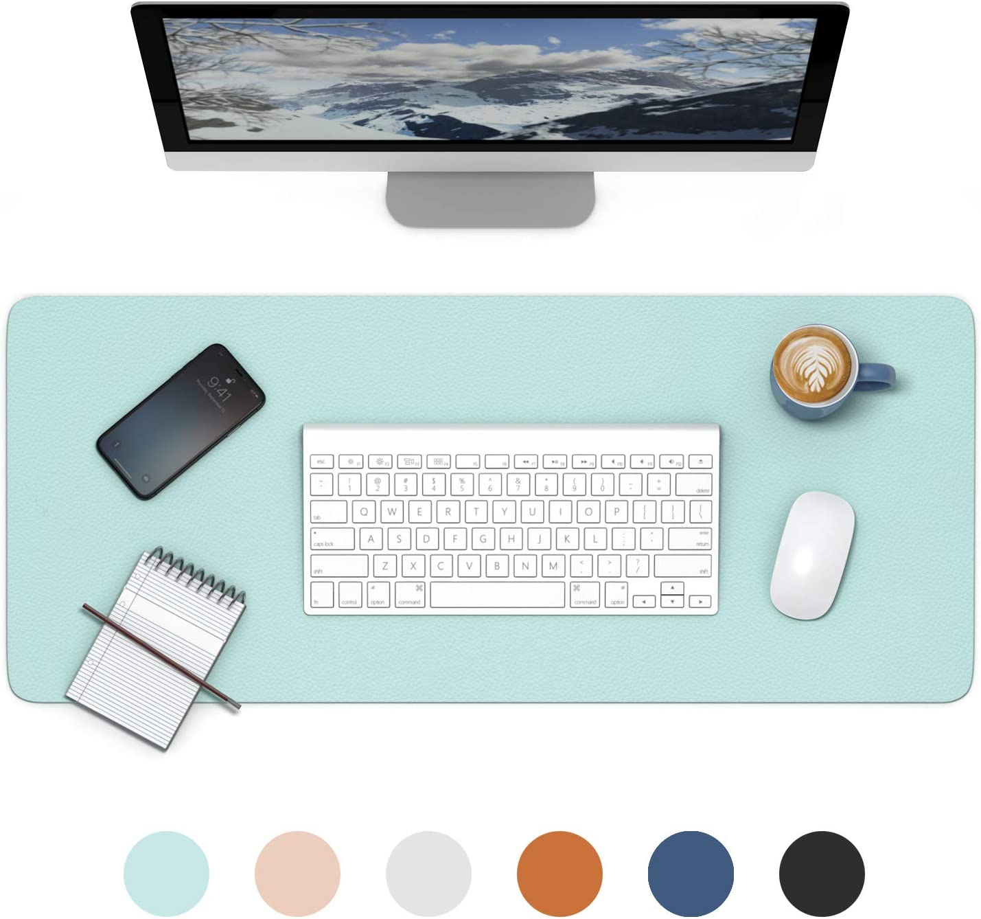 Leather Desk Pad Protector, IEZFIX Dual-Sided Laptop Desktop Desk Mat, Large Computer Keyboard and Mouse Pad,Gifts for Kids/Men/Women,Office Desk Accessories,Home Décor Products (Light Blue)